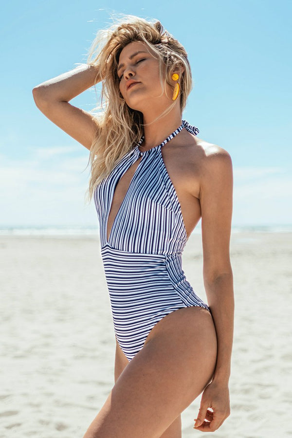 Navy High Neck Keyhole One-piece Swimsuit