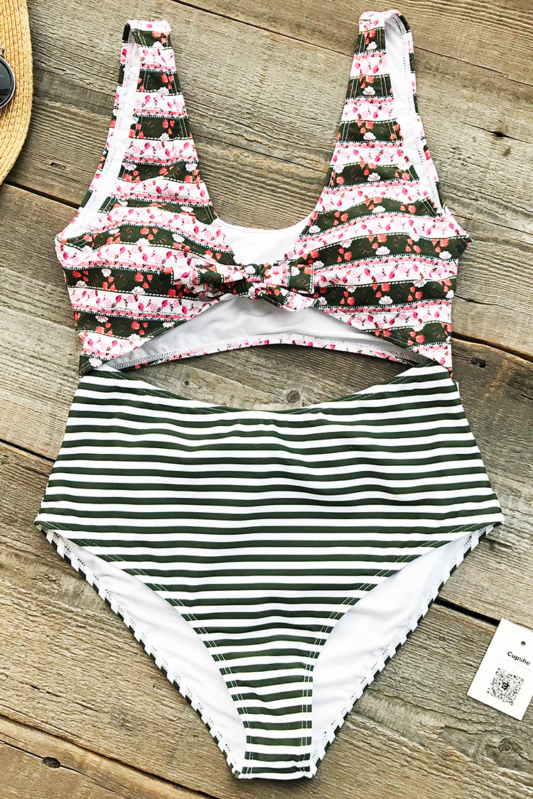 Smiling Eyes Lace Up One-piece Swimsuit