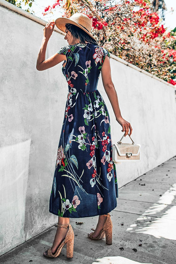 Floral Maxi Dress with Plunging Neckline