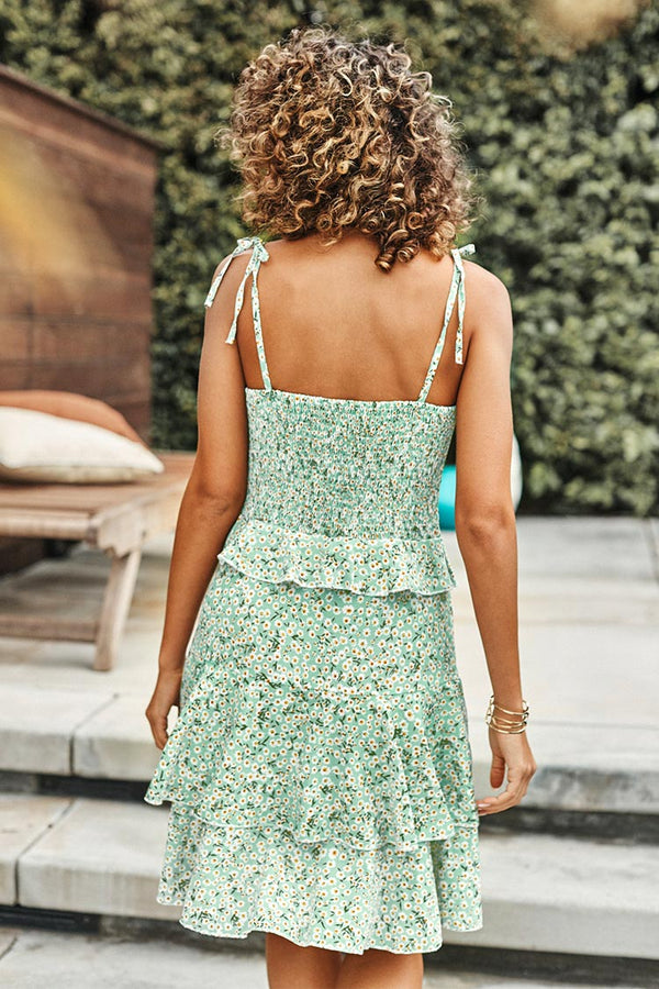 Green Ditsy Floral Tiered Ruffled Dress