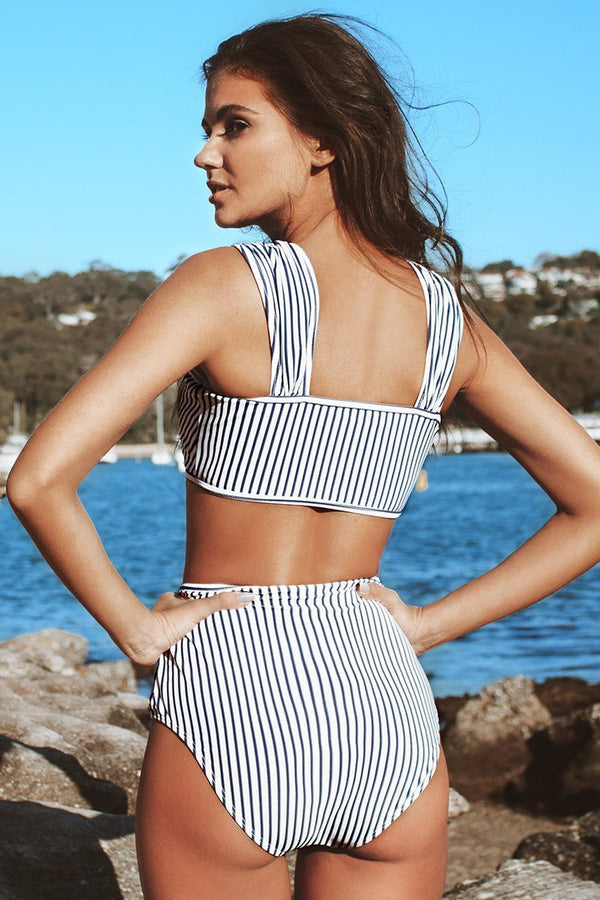 Stripes On Stripes High-Waisted Bikini