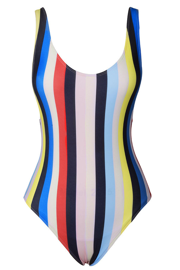 Colorful Stripes Backless One-piece Swimsuit