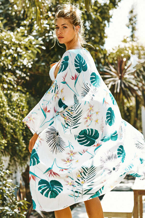 White Palm Print Open Maxi Cover Up