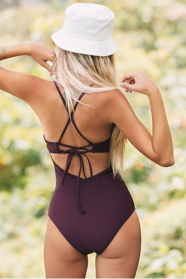 Dark Purple Scalloped Moulded Cup One-Piece Swimsuit