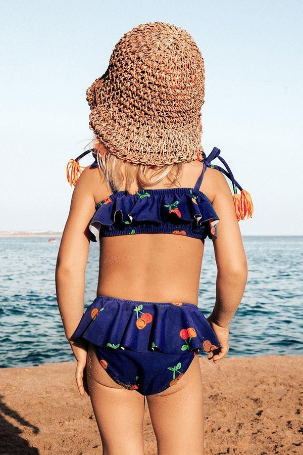 Sweet Cherry Ruffles Bikini For Toddler Girls and Girls