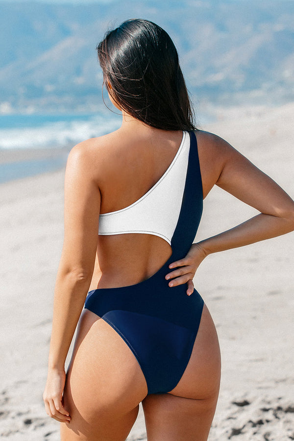 White and Navy One Shoulder One Piece Swimsuit
