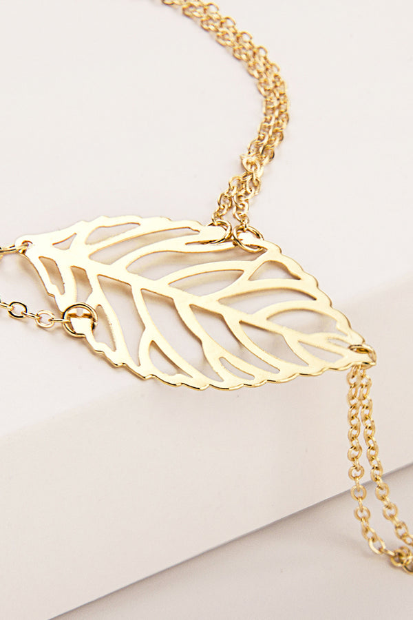 Gold Leaf Charm Hand Chain