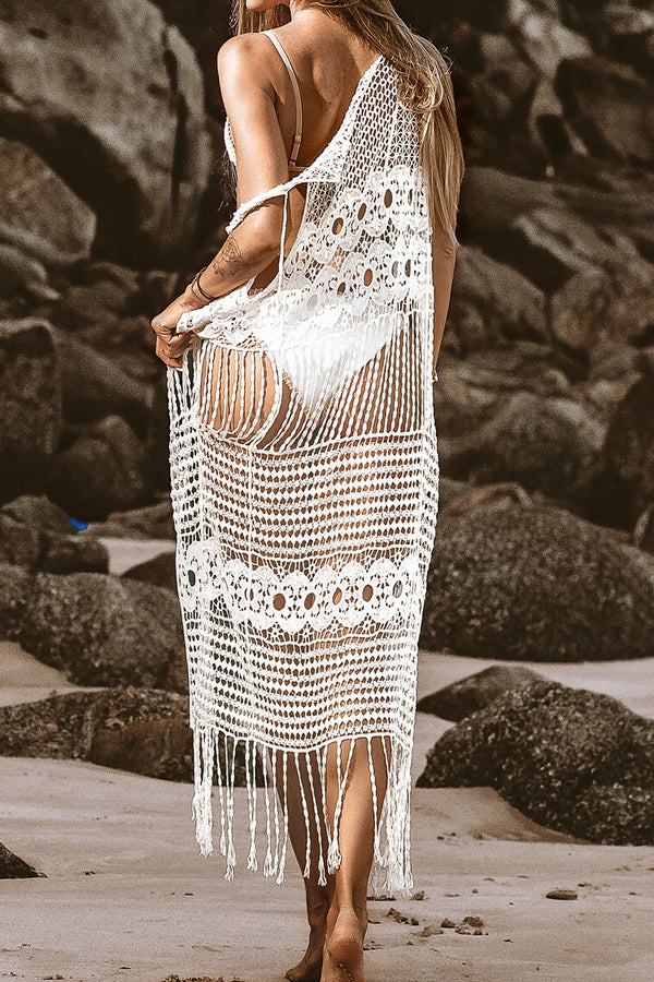 White Sleeveless Tassels Cover Up