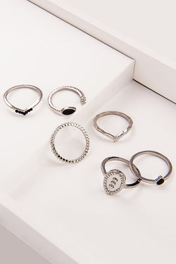 Black Gem Silver Ring Set