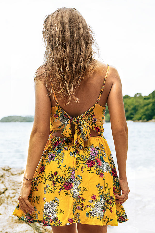 Bright Yellow Floral Dress with White Tassels