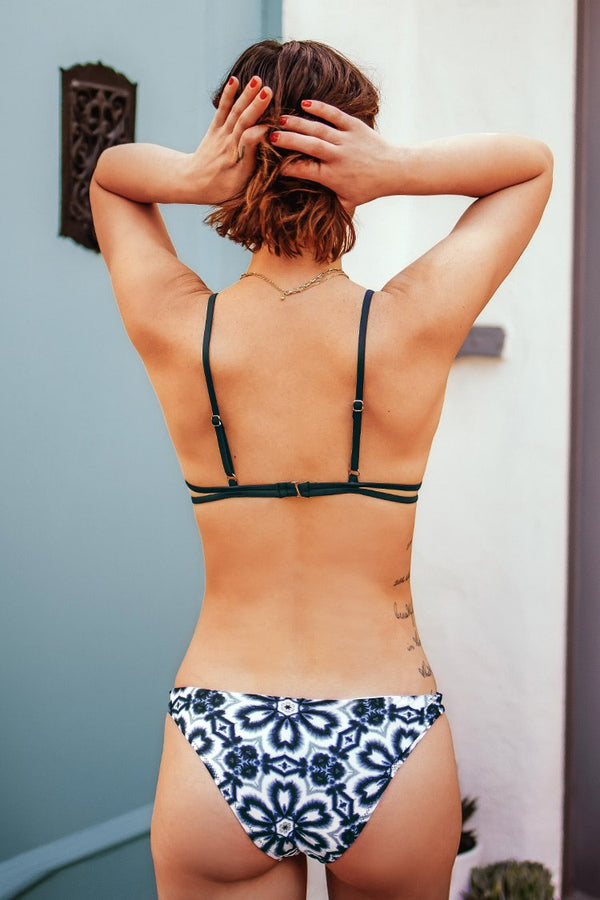 Navy Floral Strappy Triangle Bikini