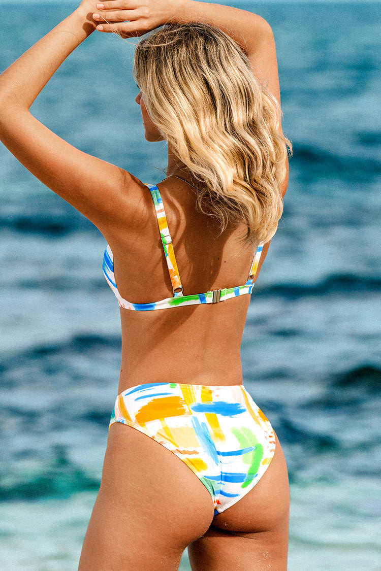 Graffiti V-Neck O-Ring Low Waisted Bikini