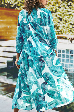 Blue Leafy Print Cover Up