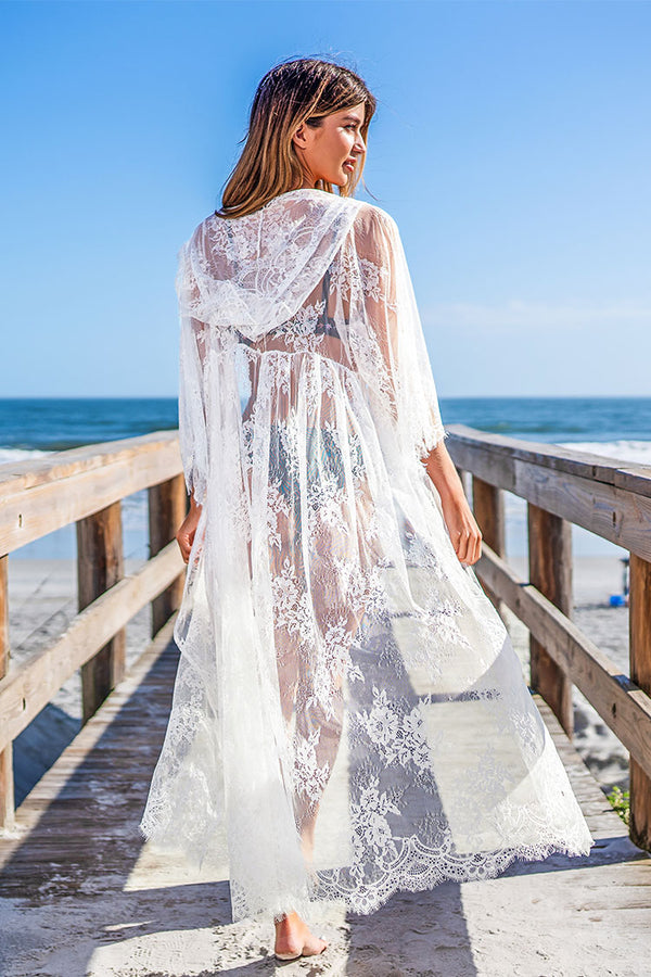 White Lace Floral Maxi Cover Up