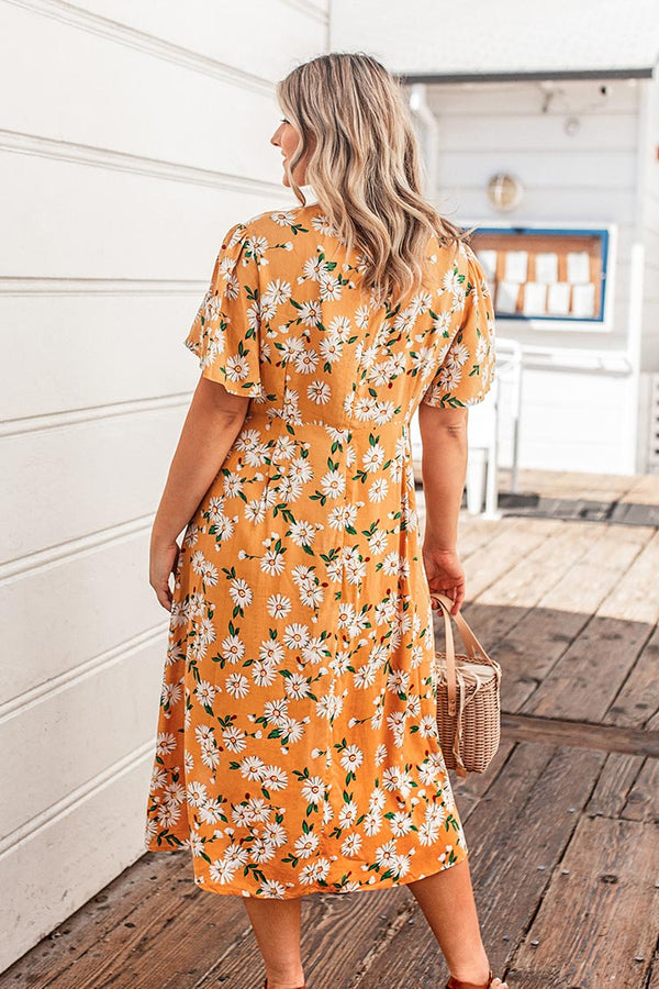 Yellow Floral Buttoned Plus Size Dress