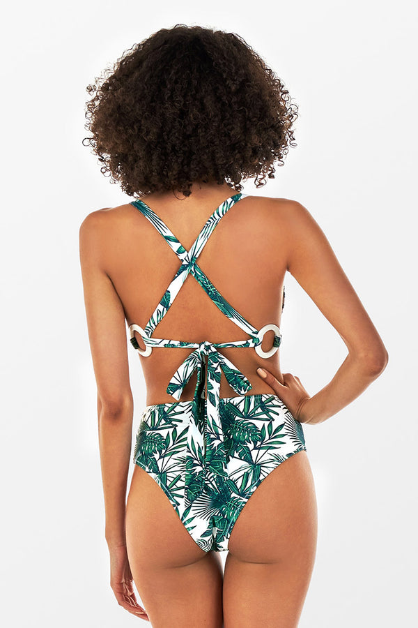 Tropical Leafy O-Ring High Waisted Bikini