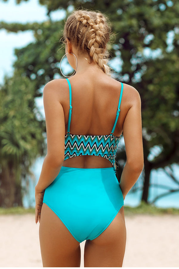 Aqua Cutout Knotted One-Piece Swimsuit