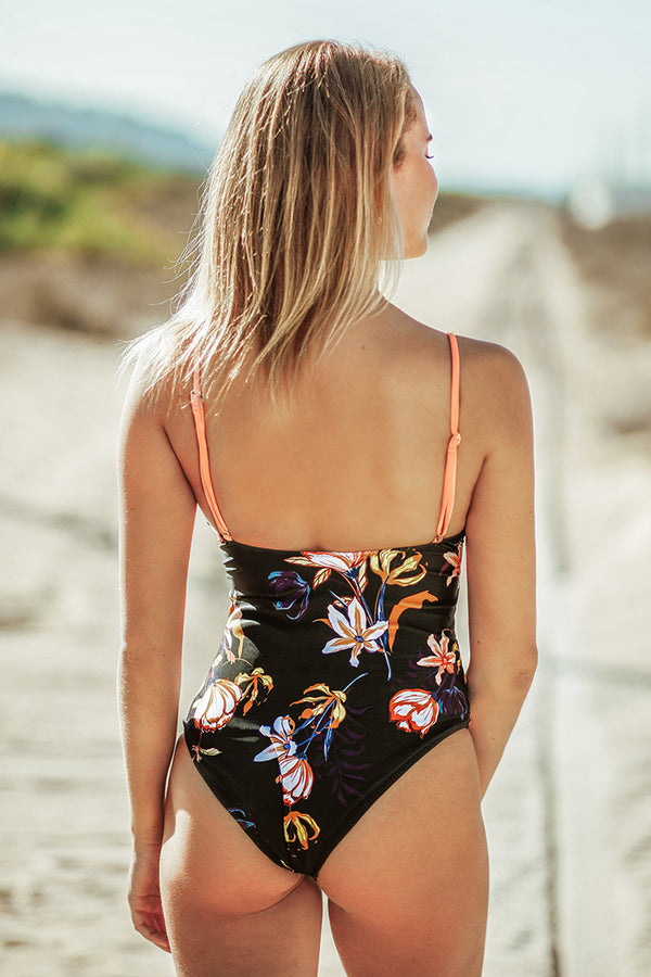 Solid Peachy and Floral One-Piece Swimsuit