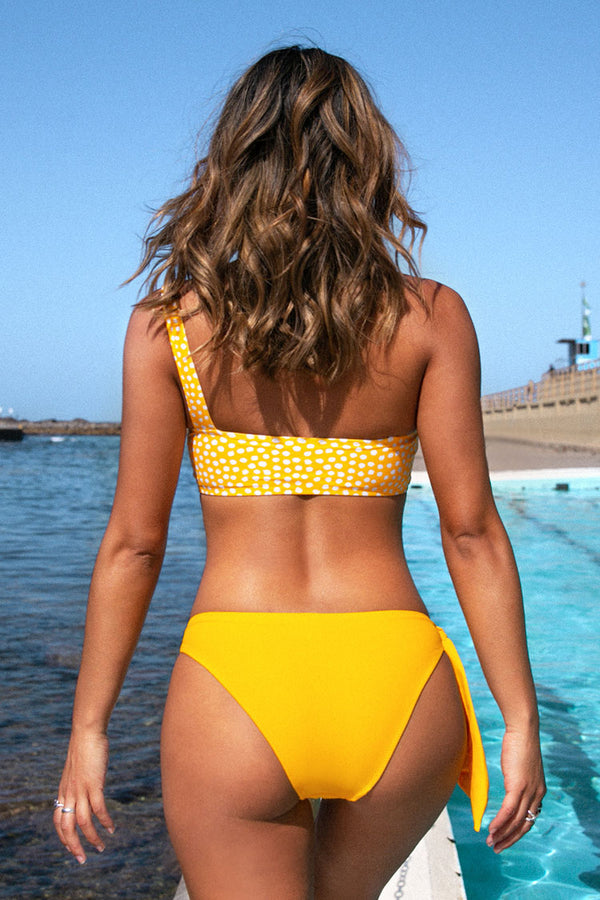Yellow One Shoulder Polka Dot Bkini
