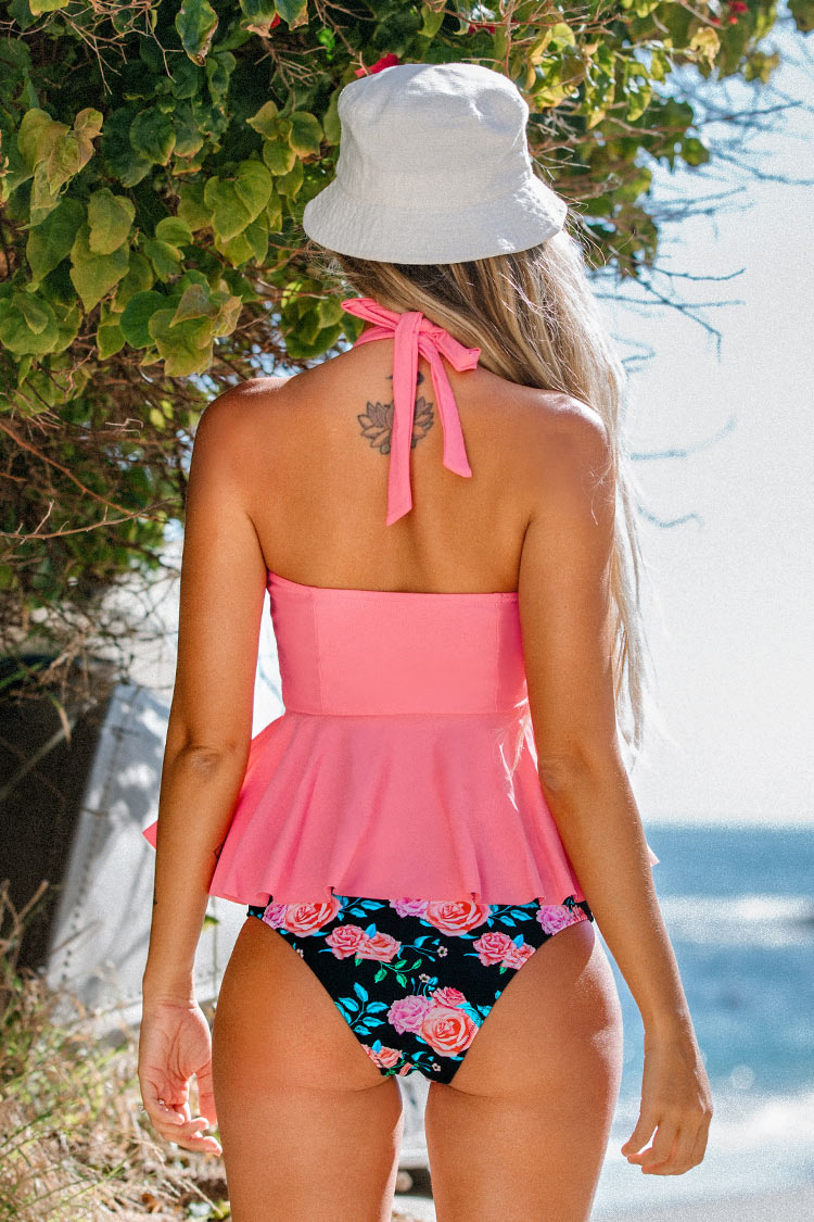 Pink and Floral Halter Tankini