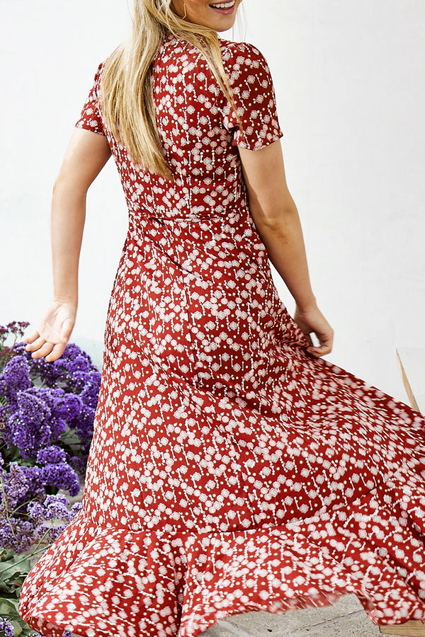Bohemian Red Print Ruffle Dress