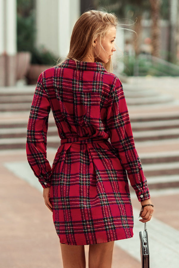 Red Plaid Belt Shirt Dress