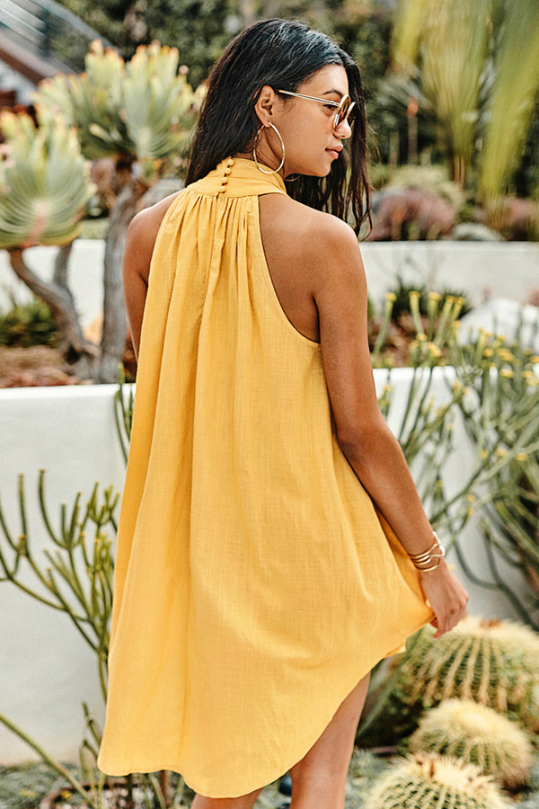 Yellow High-Necked Mini Dress