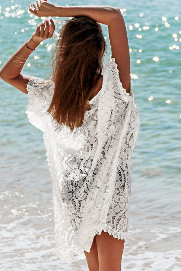 White Floral Lace V-neck Cover Up