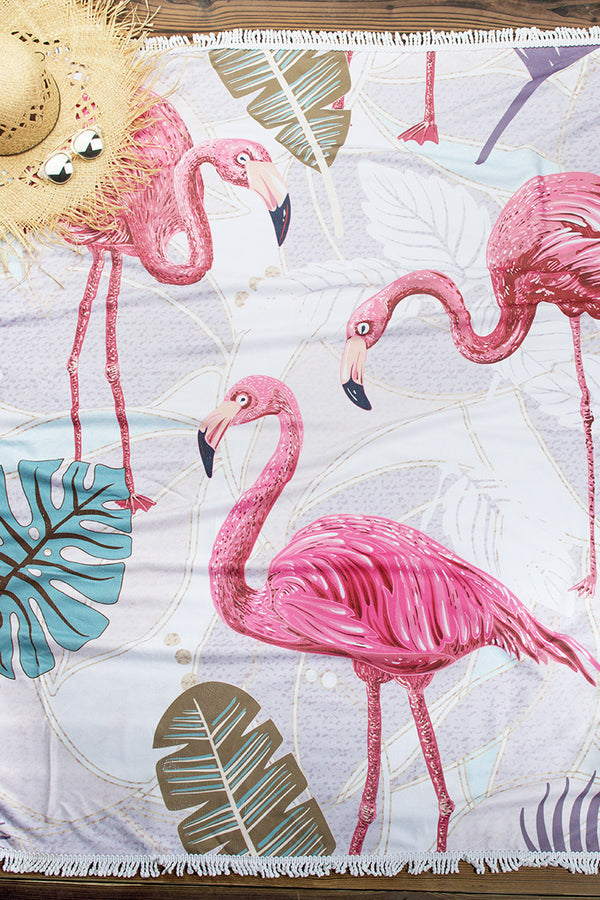 Pink Flamingo Print Beach Towel