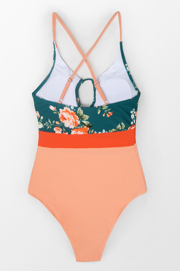 Tie-Front Floral One-Piece Swimsuit