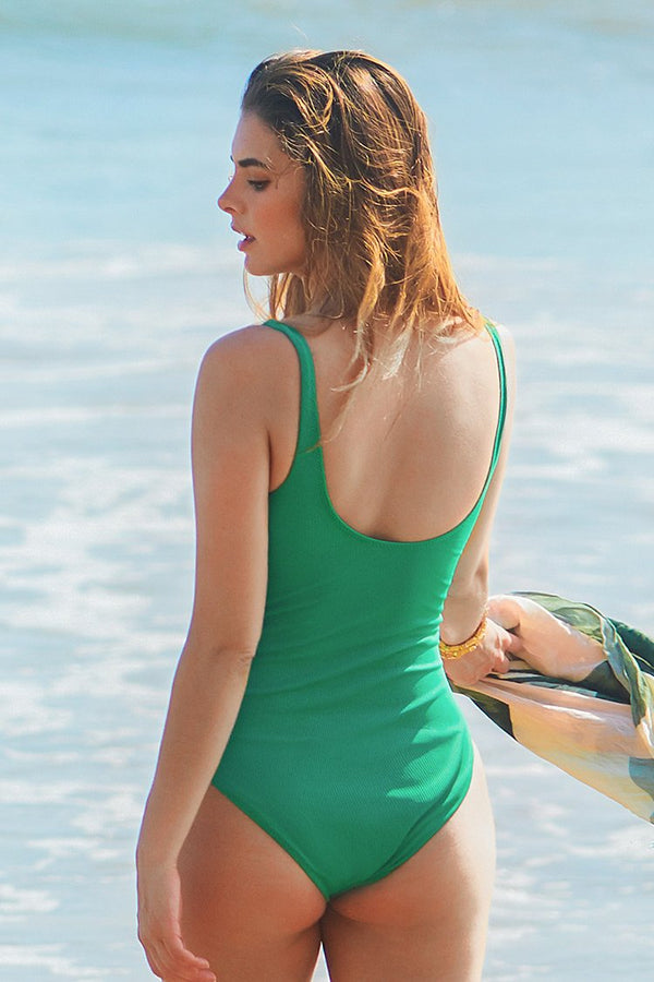 Green Shirring One-Piece Swimsuit