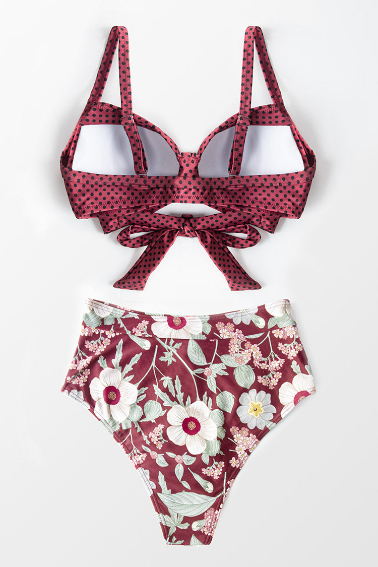 Polka Dot and Floral Twist Bikini