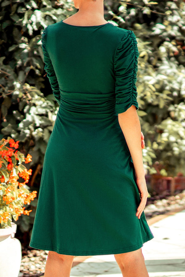 Green V-Neck Shirred Short Dress