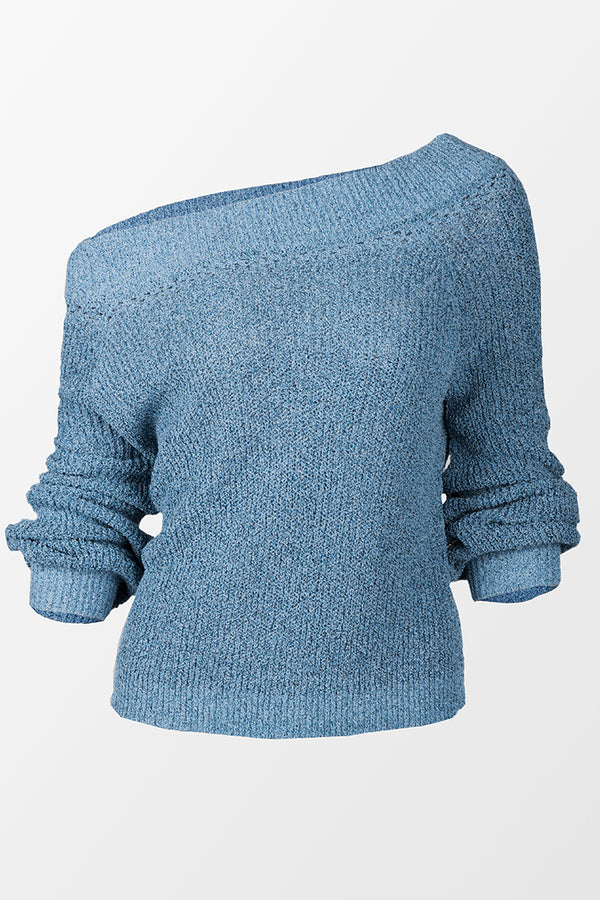 Blue Chunky Off-The-Shoulder Sweater