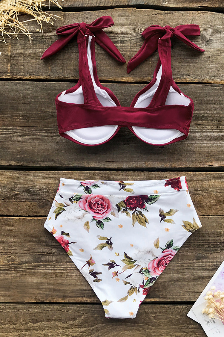Romantic Red Floral High-Waisted Bikini