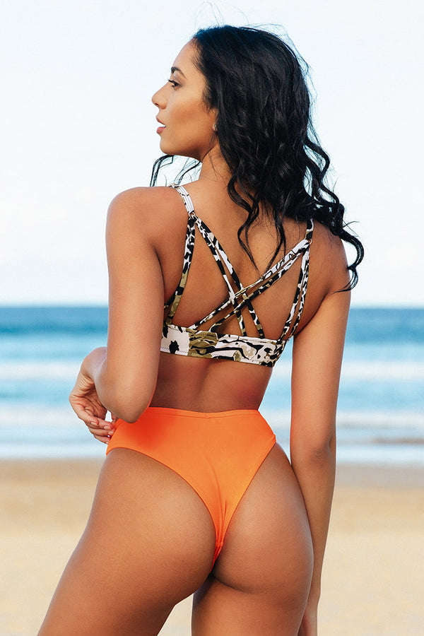 Animal Print Neon Orange Strappy Bikini
