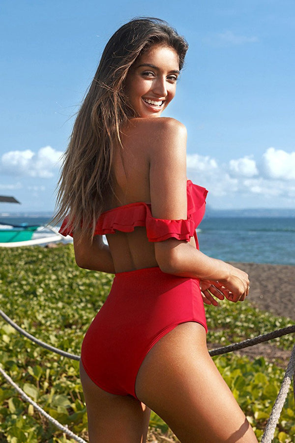Red Ruffle High Waisted Bikini