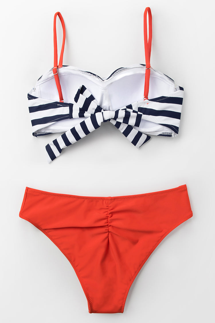 Black Stripe and Tangerine Wrap Bikini