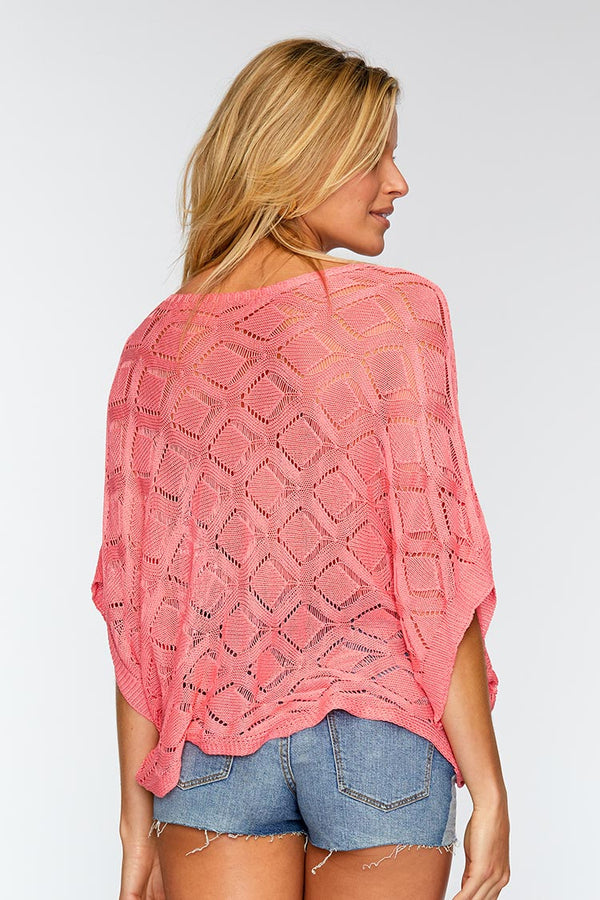 Sweet Pink Knitted Cover Up Top
