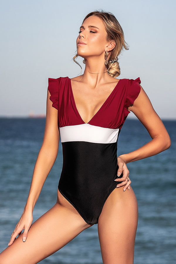 Red White and Black Ruffled One-Piece Swimsuit