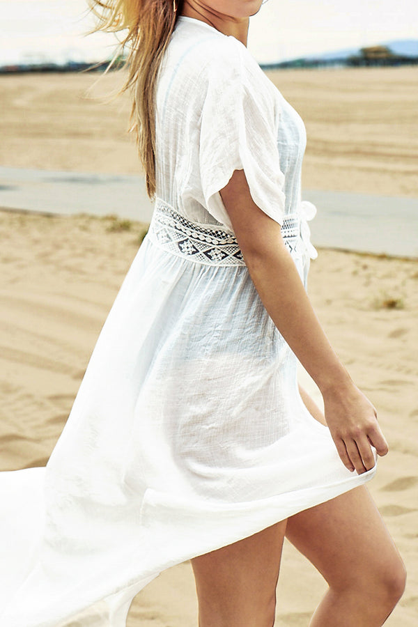 Long White Lace Up Cover UP