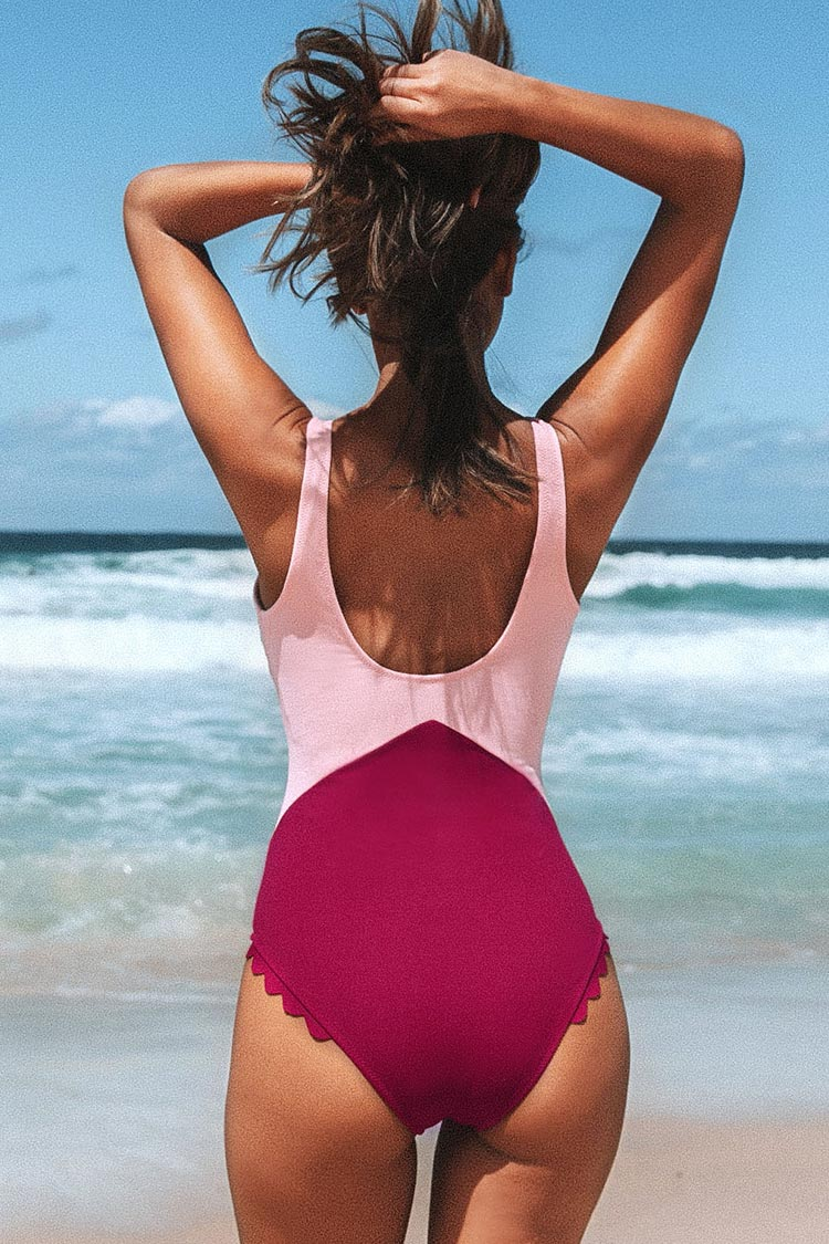 Scalloped Deep V-neck One-Piece Swimsuit