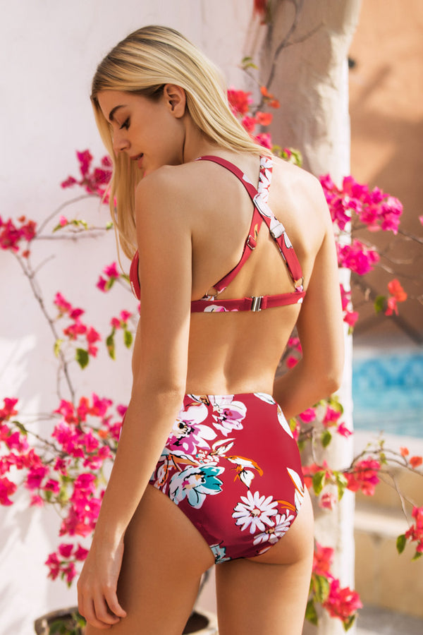Floral High Waisted Triangle Bikini