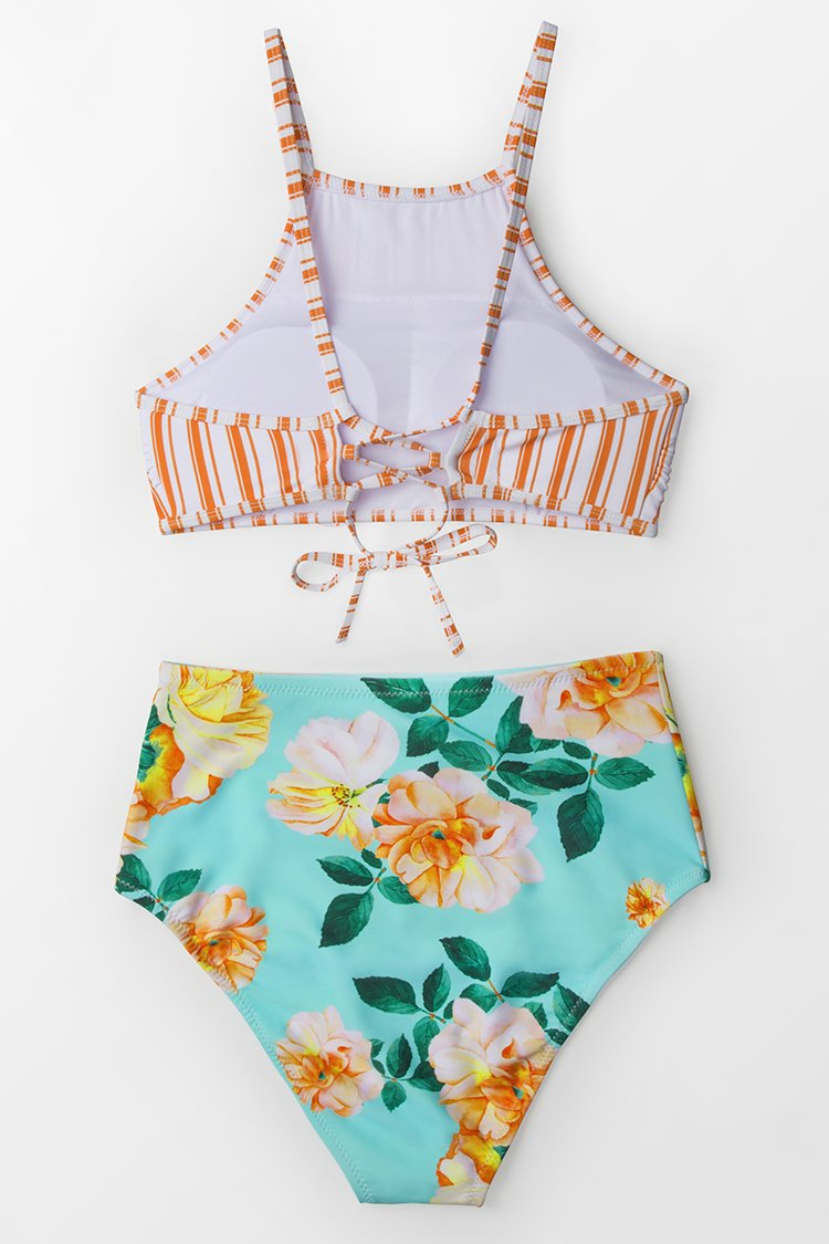 Orange Stripe And Floral High-waisted Bikini