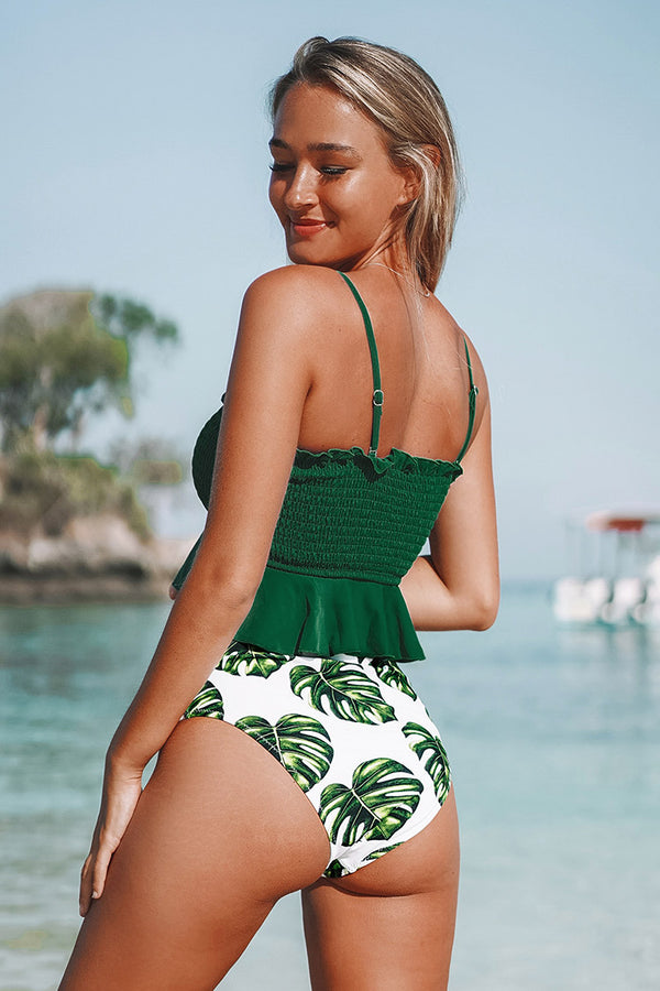 Smocked Green and Monstera High-Waisted Bikini