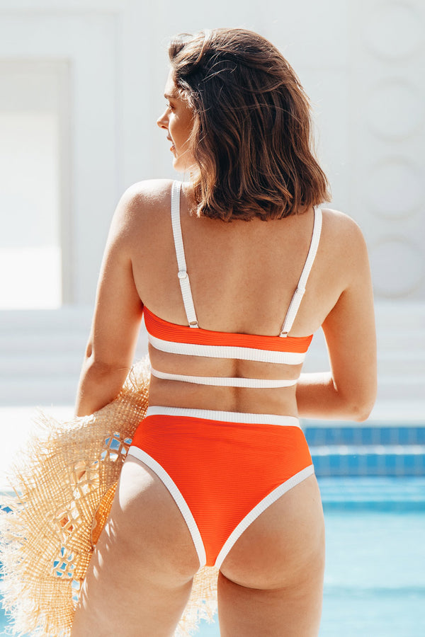 Orange Triangle Contrast Trim Strappy Bikini