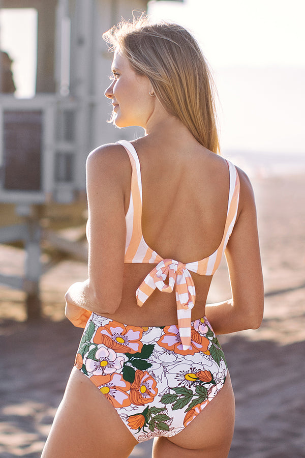 Orange Striped and Floral Cutout One-Piece Swimsuit