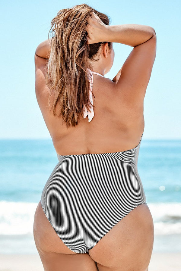 Striped and Floral Print V-neck Plus Size One-Piece Swimsuit