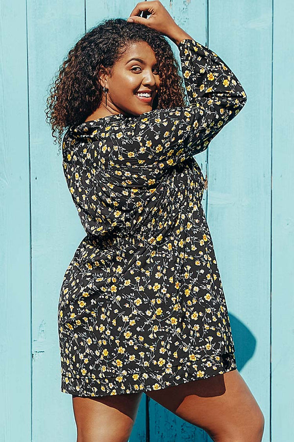 Black Ditsy Plus Size Dress