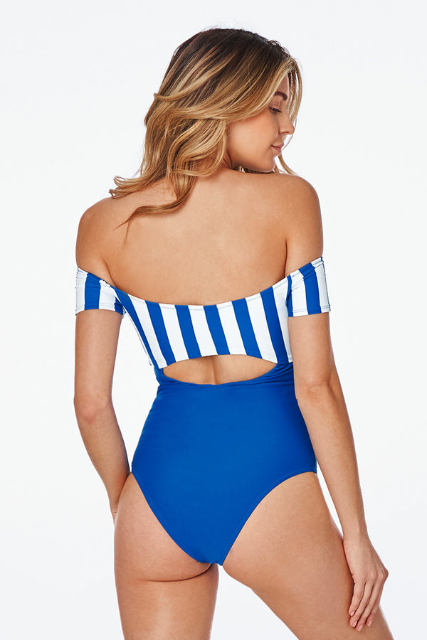 Blue Off-the-shoulder Striped One-Piece Swimsuit